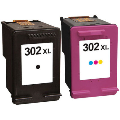 HP 302XL set (2 cartridges) zwart & kleur