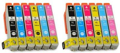 Epson T2431-T2436 voordeelpakket (2 complete sets, 12 cartridges)